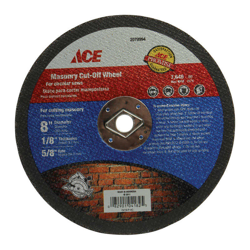 Ace  1/8 in. thick  x 5/8 in.  Silicon Carbide  Masonry Cut-Off Blade  1 pc. 8 in.