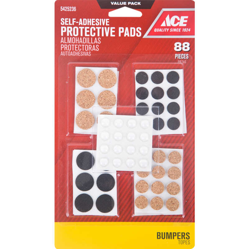 Ace  Vinyl  Pad  Clear  Round  88 pk Self Adhesive