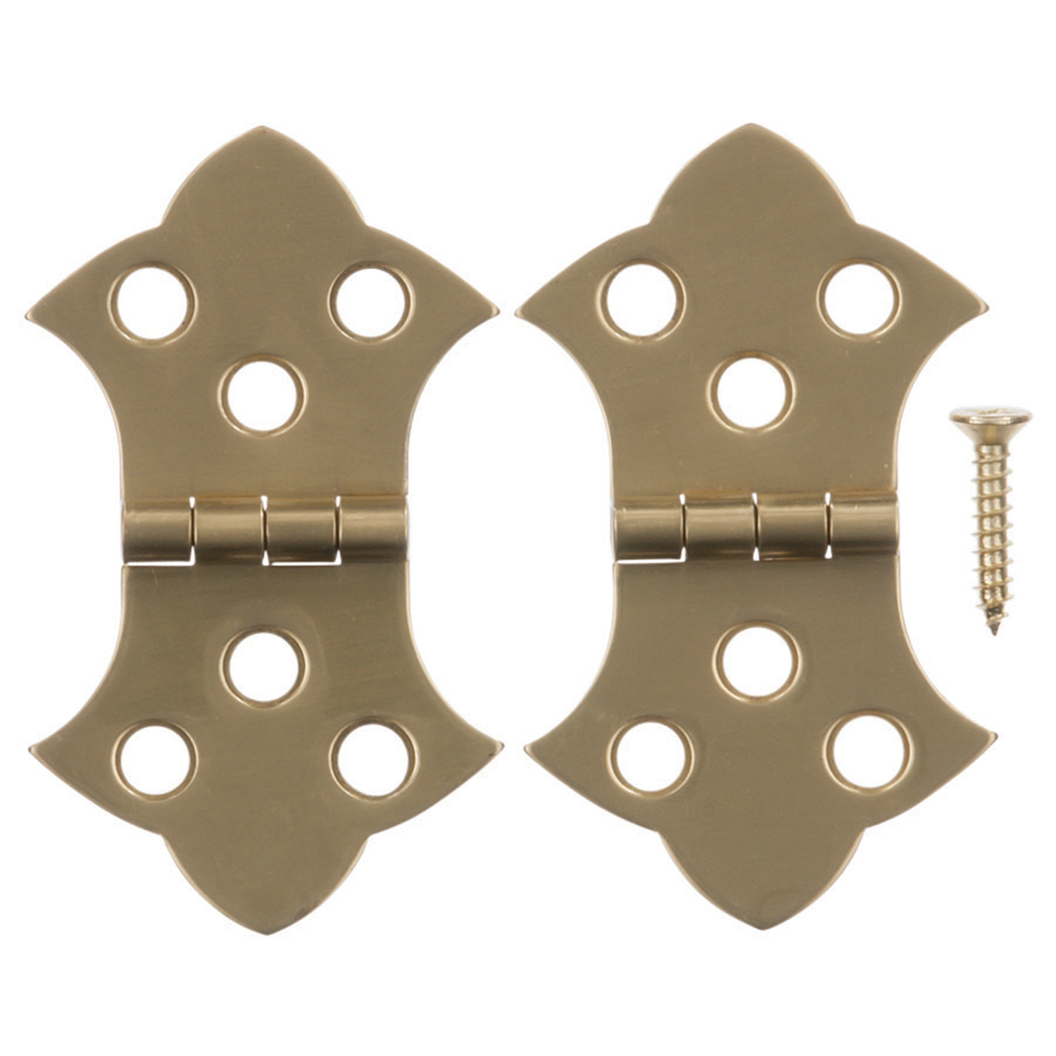 Ace  1-5/16 in. W x 2-1/4 in. L Polished Brass  Brass  Decorative Hinge  2 pk