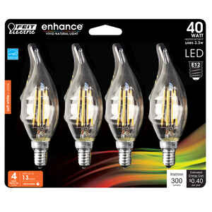 FEIT Electric  3.8 watts C10  LED Bulb  300 lumens Soft White  Chandelier  40 Watt Equivalence