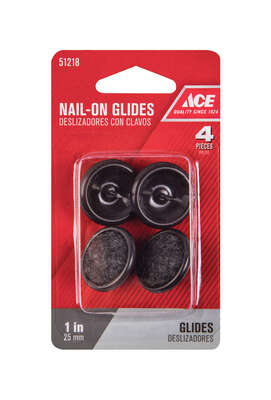 Ace Black 1 in. Nail-On Carpet/Nylon Chair Glide 4 pk