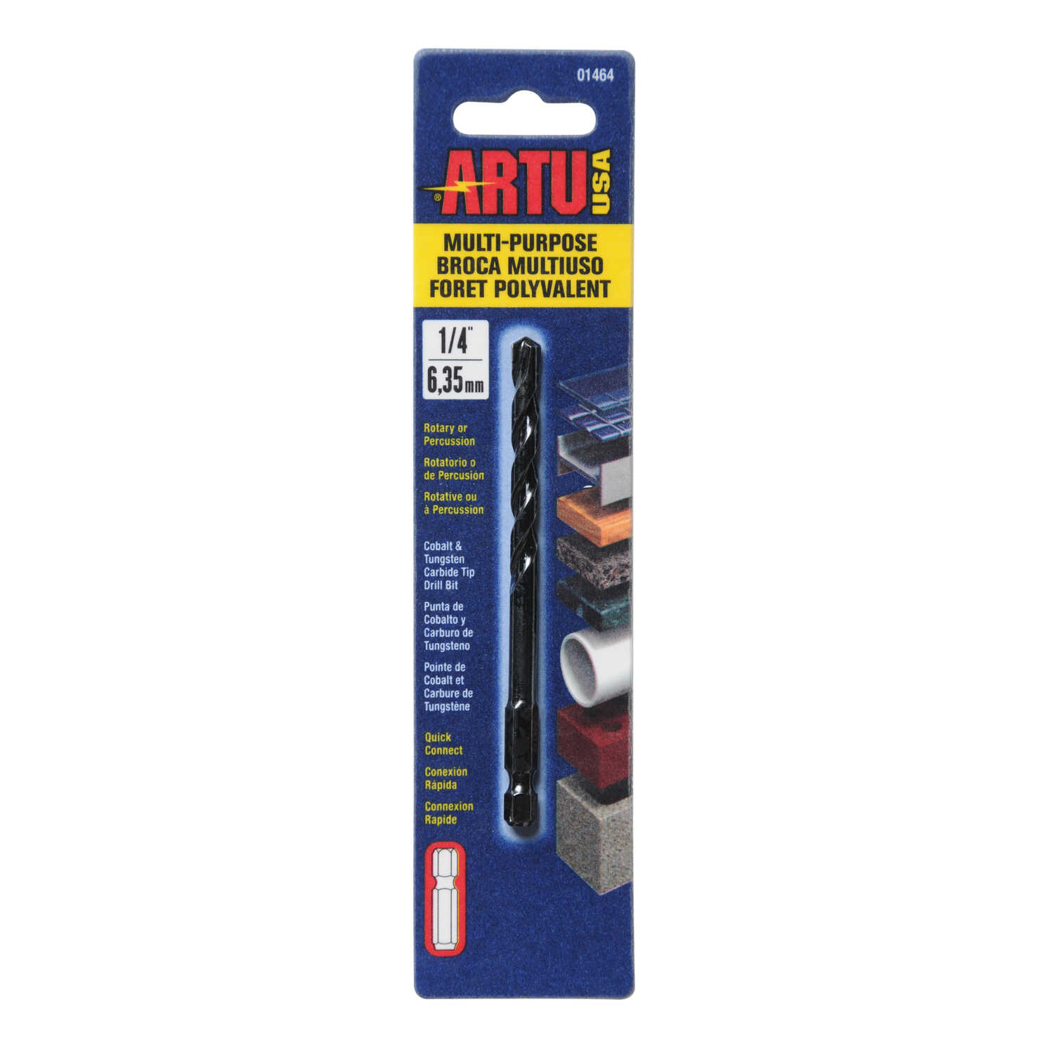 ARTU  1/4 in. Dia. x 4-1/8 in. L Carbide Tipped  Quick-Connect Drill Bit  Quick-Change Hex Shank  1