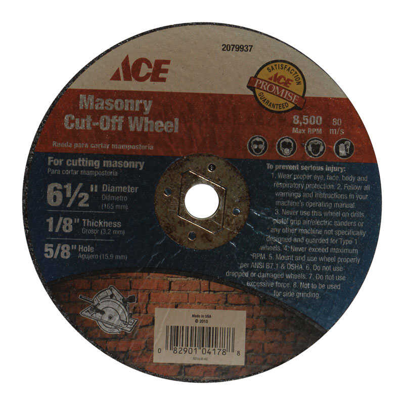 Ace  0.125 in.  x 5/8 in.  6-1/2 in. Silicon Carbide  Masonry Cut-Off Wheel  1