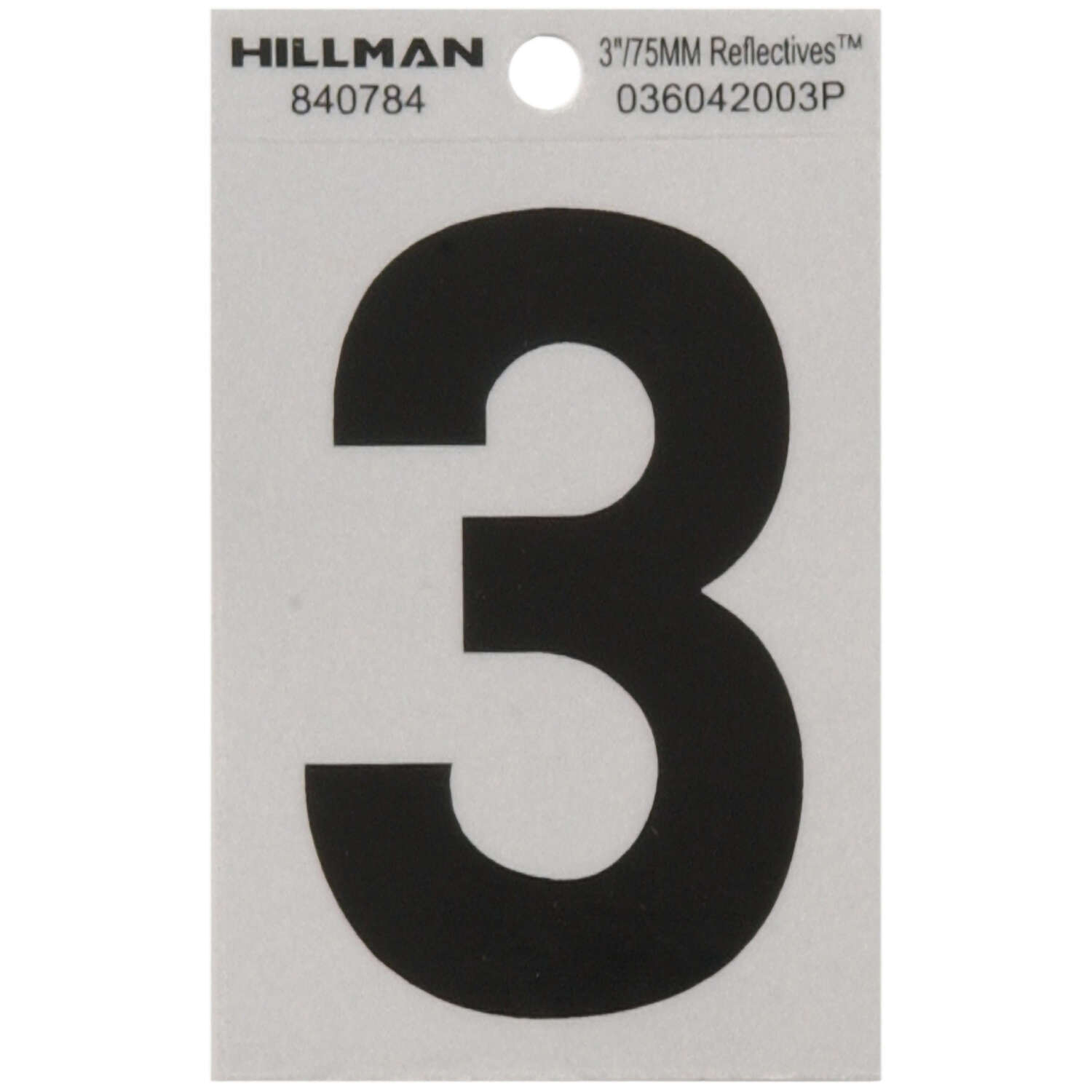 Hillman  3 in. Reflective Black  Mylar  Self-Adhesive  Number  3  1 pc.