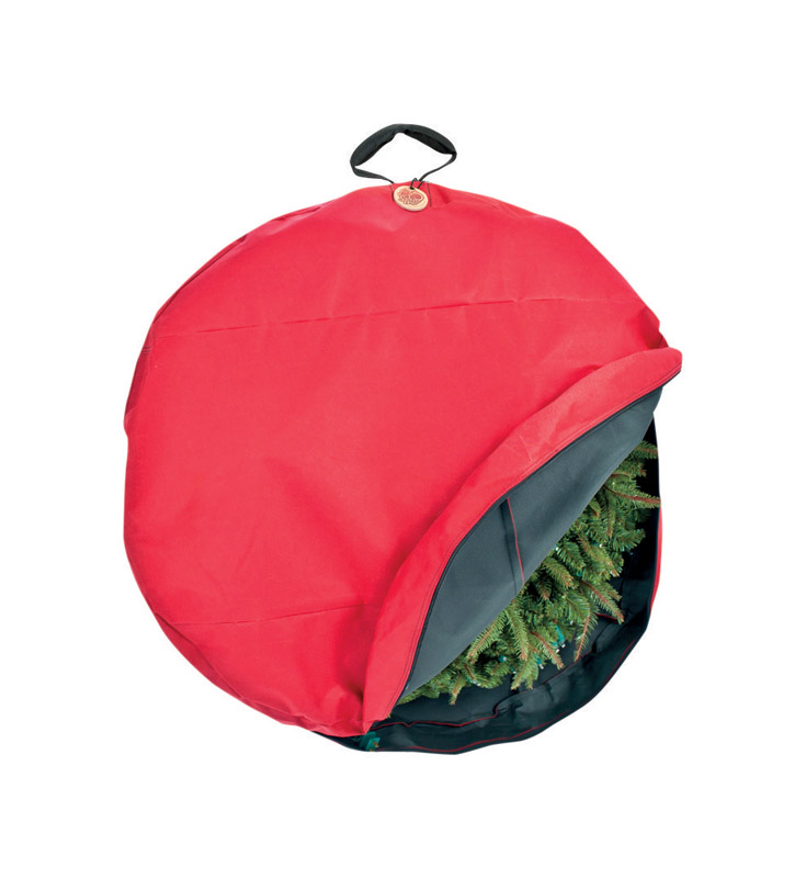 The 30 Basic Wreath Storage Bag w/Direct Suspend is a great way to hang your Christmas Wreath using hooks. The Direct Suspend handle connects to a hook inside the wreath bag which is then connected to the wire frame of your wreath.When the wreath bag is hung on the wall using hooks it is suspended and not slumped or distorted. When you bring your wreath out of storage the following year it will not be bent, curved, out of shape, or damaged.The fabric is light-weight and soft, not designed for stacking or for other heavy object to be layered on top.