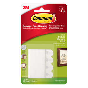 3M  Command  Small  Foam  Picture Hanging  4 lb. 1 lb. per Set  8 pk Picture Hanging Strips  White