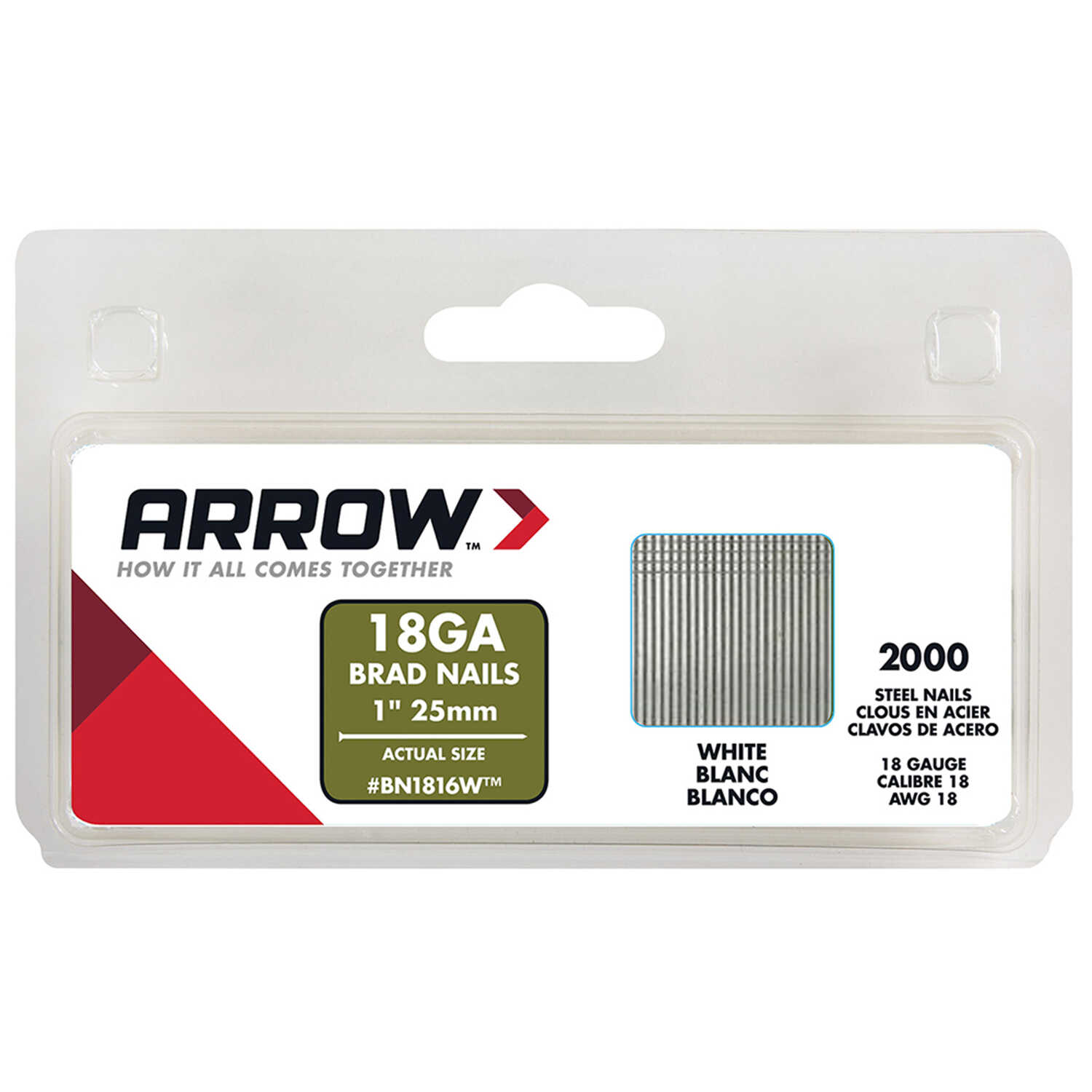 Arrow Fastener  BN18  18 Ga.  x 1 in. L Galvanized  Steel  Brad Nails  2000 pk 0.95 lb.