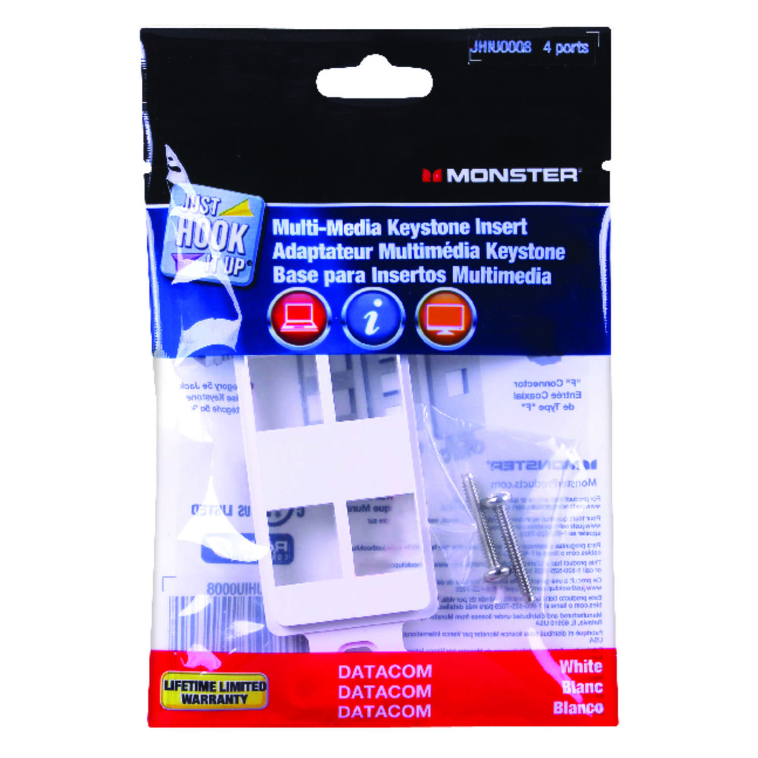Monster Cable  Just Hook It Up  White  1 gang Plastic  Keystone  Wall Plate  1 pk