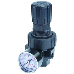 Tru-Flate  Plastic  Compact Regulator with Gauge  1/4 in. NPT  160 psi 1 pc.