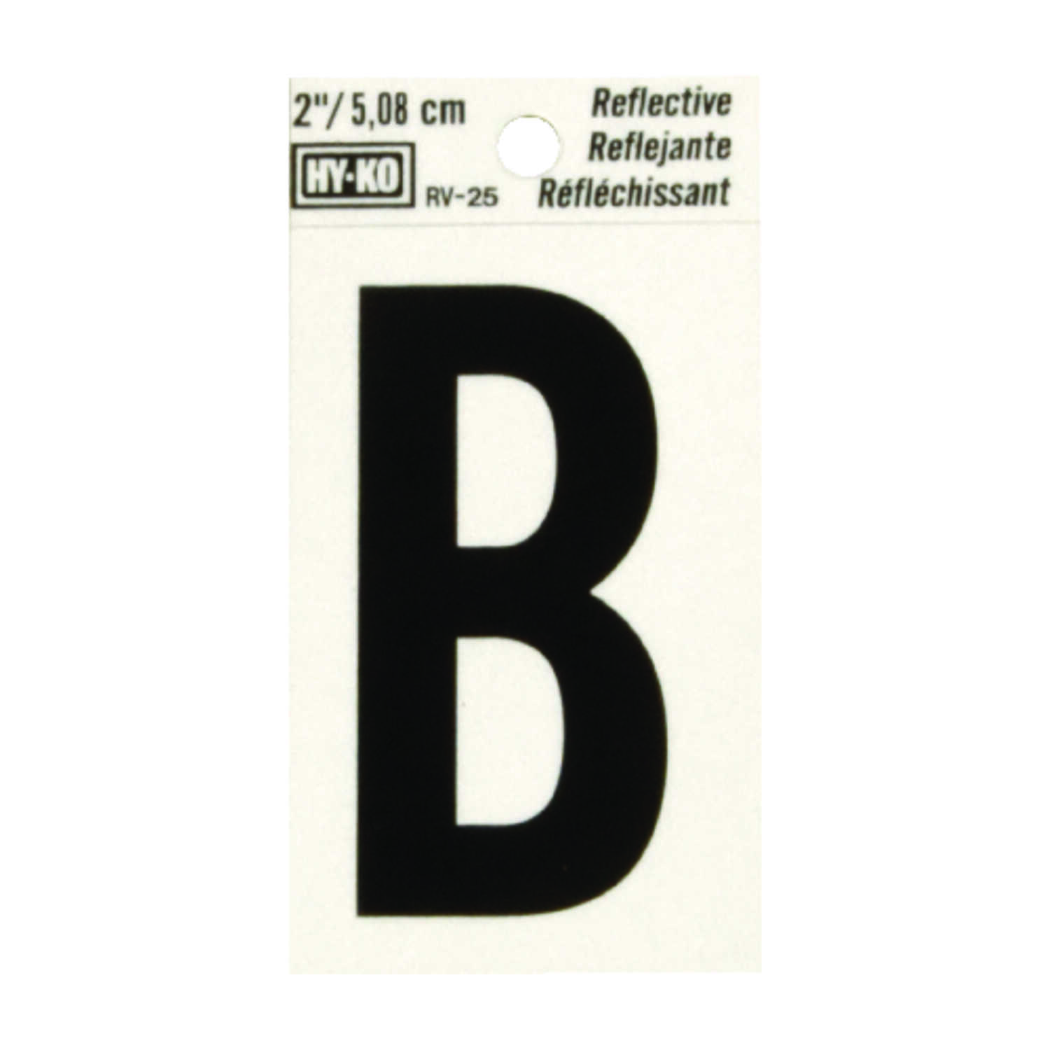 Hy-Ko  2 in. Reflective Black  Vinyl  Letter  B  Self-Adhesive  1 pc.