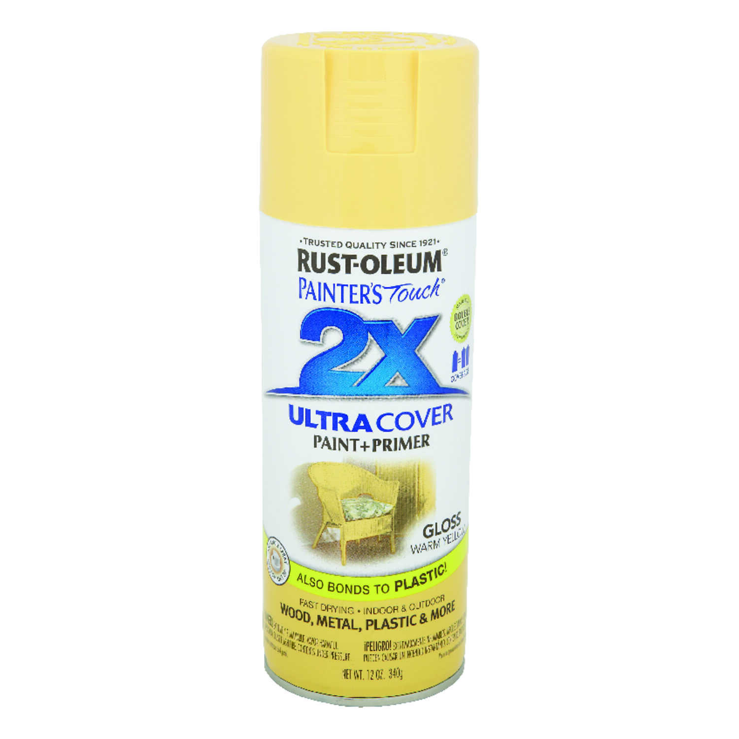 Rust-Oleum  Painter's Touch Ultra Cover  Gloss  Warm Yellow  Spray Paint  12 oz.