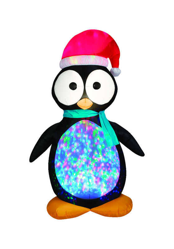 Gemmy  Airblown  Kaleidescope Penguin  Christmas Inflatable  Multicolored  Fabric  1 pk
