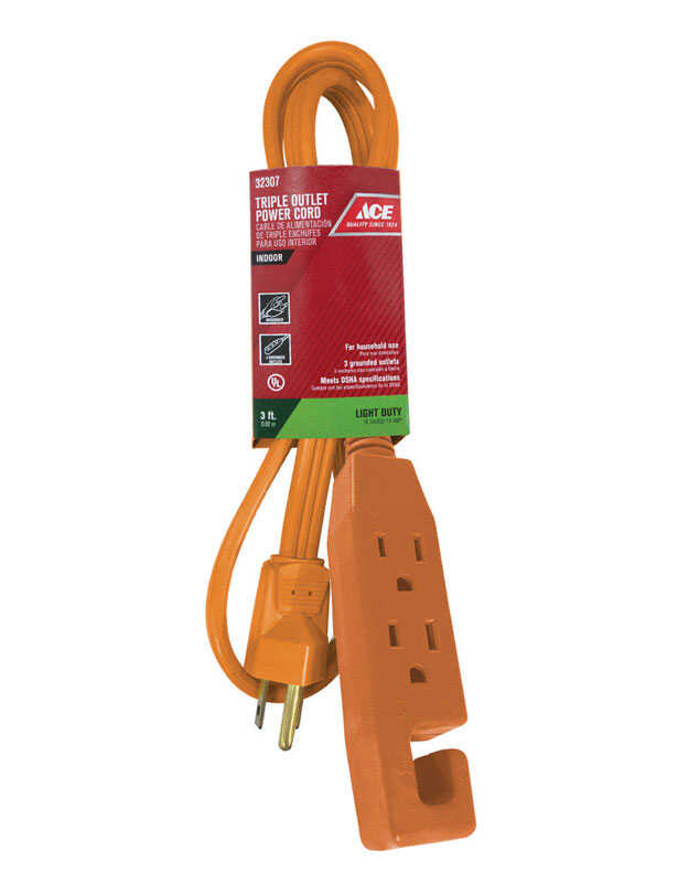 Ace  Indoor  3 ft. L Orange  Triple Outlet Cord  16/3 SPT-2