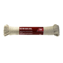 Ace  3/16 in. Dia. x 50 ft. L Natural  Braided  Cotton  Cord