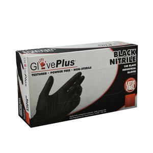 GlovePlus  Nitrile  Disposable Gloves  L  Black  100 pk
