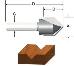 Vermont American  1/2 in. Dia. x 1/2 in.  x 1-3/4 in. L x 1/2 in. Dia. Carbide Tipped  Router Bit  V
