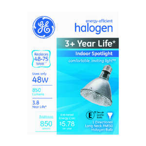 GE Lighting  48 watts PAR30  Halogen Bulb  850 lumens White  Medium Base (E26)  Spotlight  1 pk