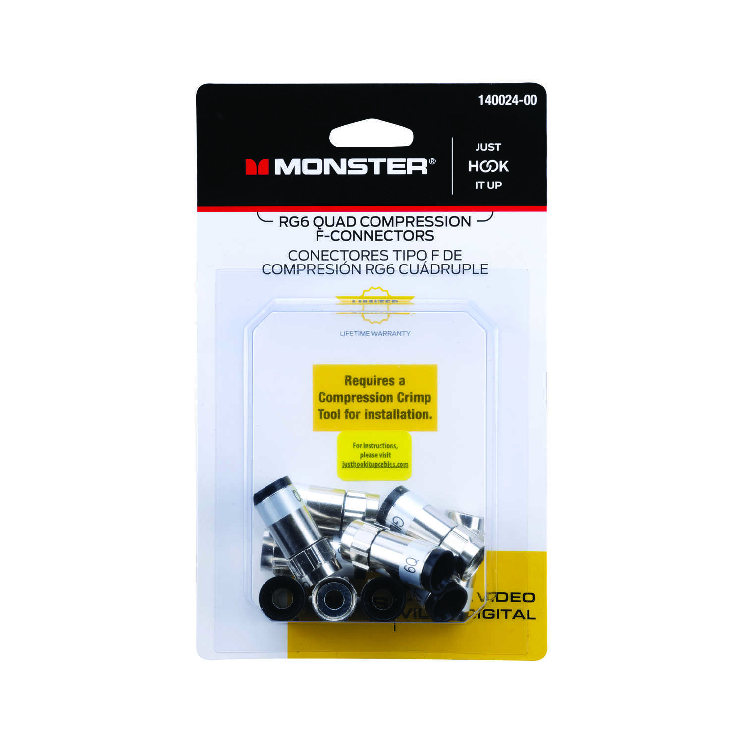 Monster Cable  Compression  RG6 Quad  Compression  Connector  10 pk