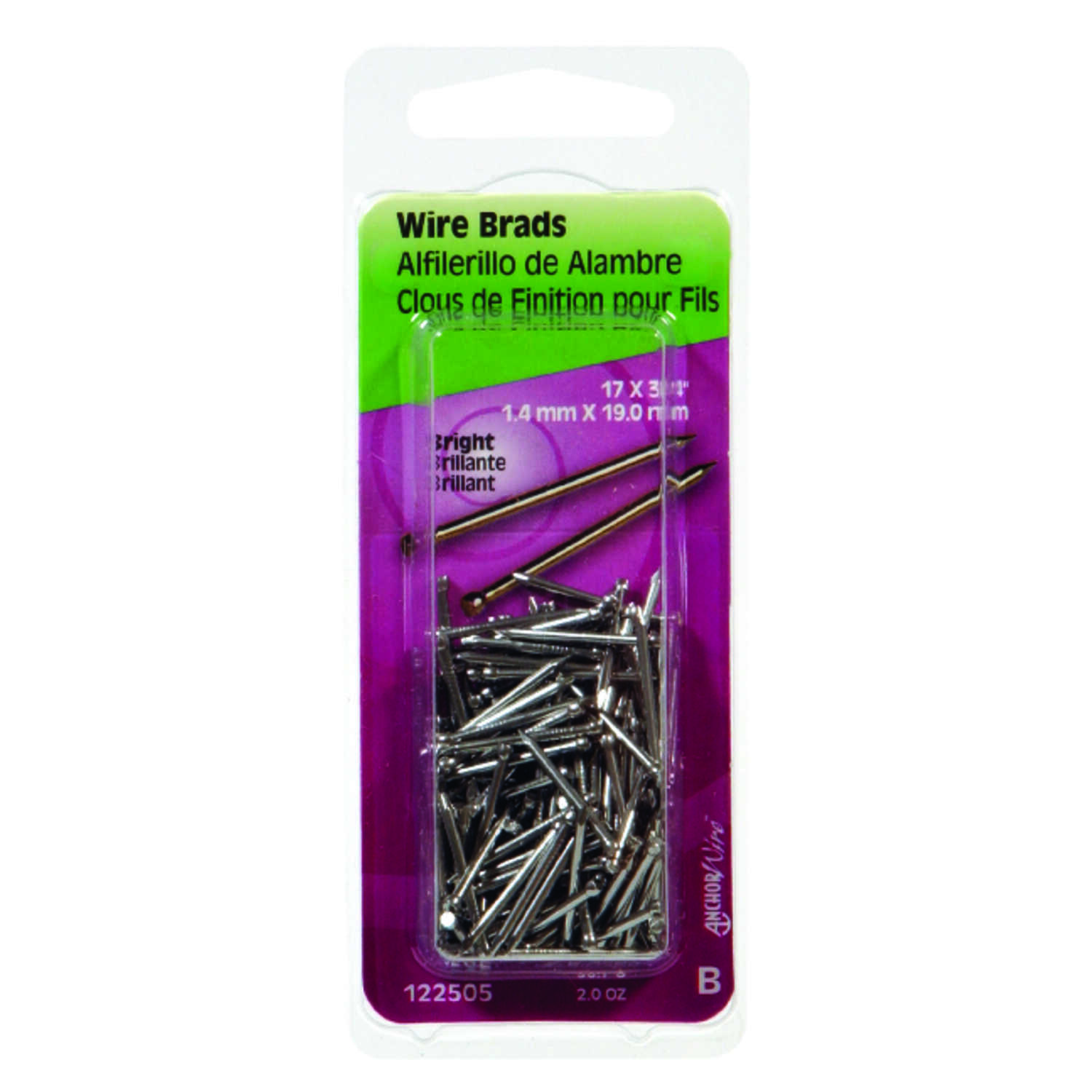 HILLMAN  17 Ga.  x 3/4 in. L Bright  Steel  Brad Nails  1 pk 2 oz.