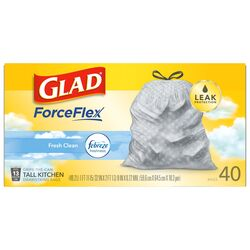 Glad ForceFlex 13 gal. Fresh Scent Tall Kitchen Bags Drawstring 40 pk