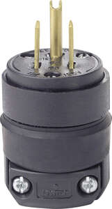 Leviton  Commercial  Rubber  Grounding  Plug  5-15P  18-12 AWG 2 Pole 3 Wire