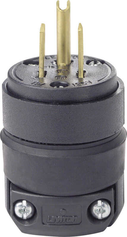 Leviton  Commercial  Rubber  Grounding  Plug  5-15P  18-12 AWG 2 Pole 3 Wire  Bulk