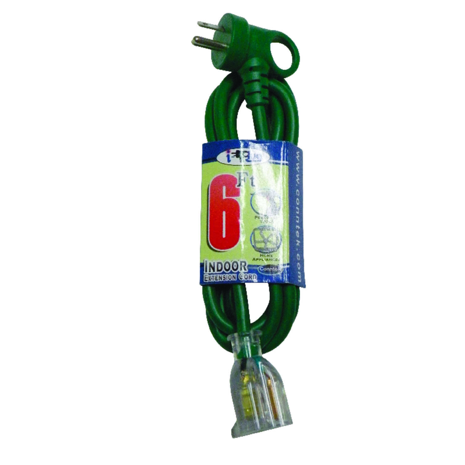 Conntek  Extension Cord  16/3 SJT  6 ft. L Green