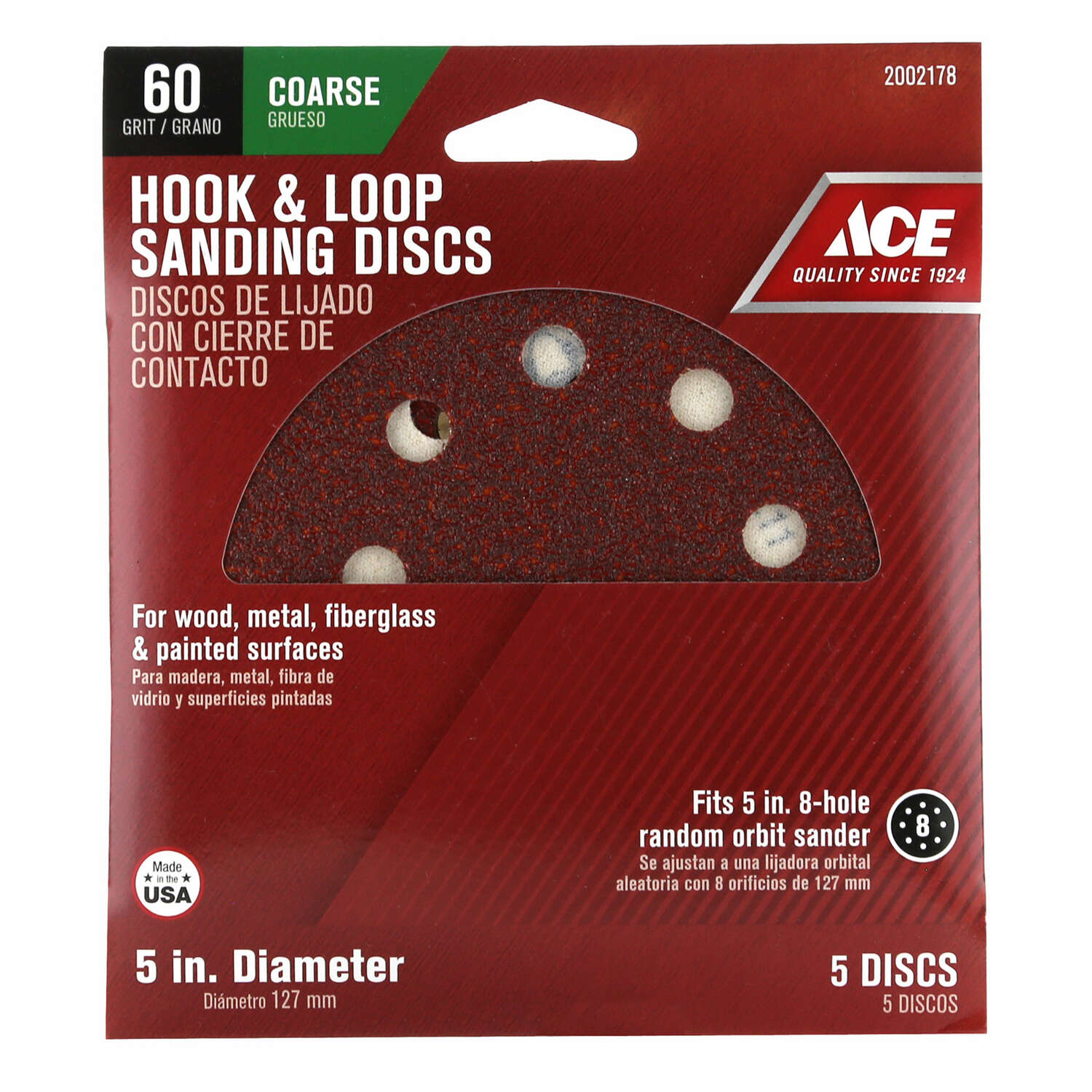 Ace  5 in. Aluminum Oxide  Hook and Loop  60 Grit Coarse  Sanding Disc  5 pk