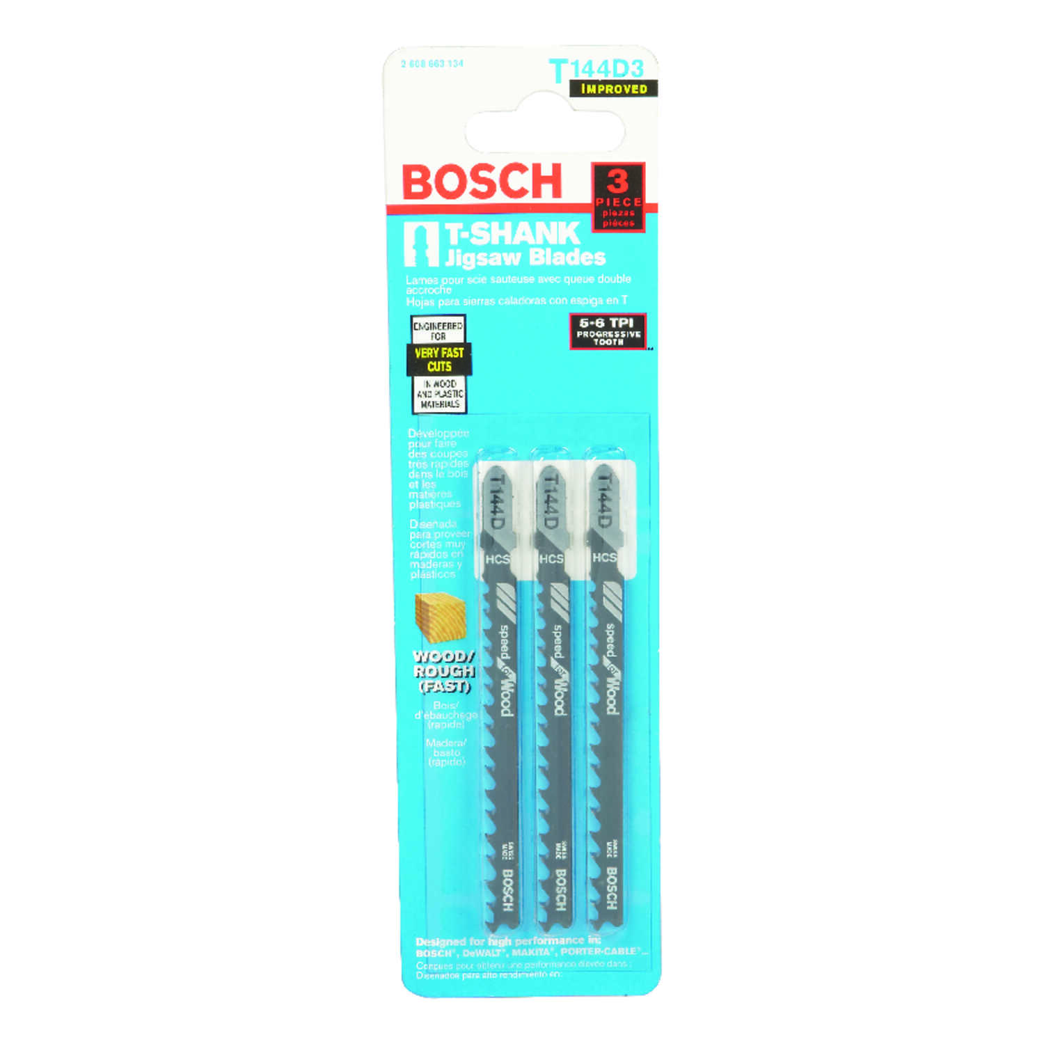 Bosch  4 in. High Carbon Steel  T-Shank  Jig Saw Blade  6 TPI 3 pk
