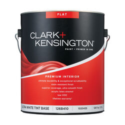 Clark+Kensington Flat Tint Base Ultra White Base Premium Paint Interior 1 gal.