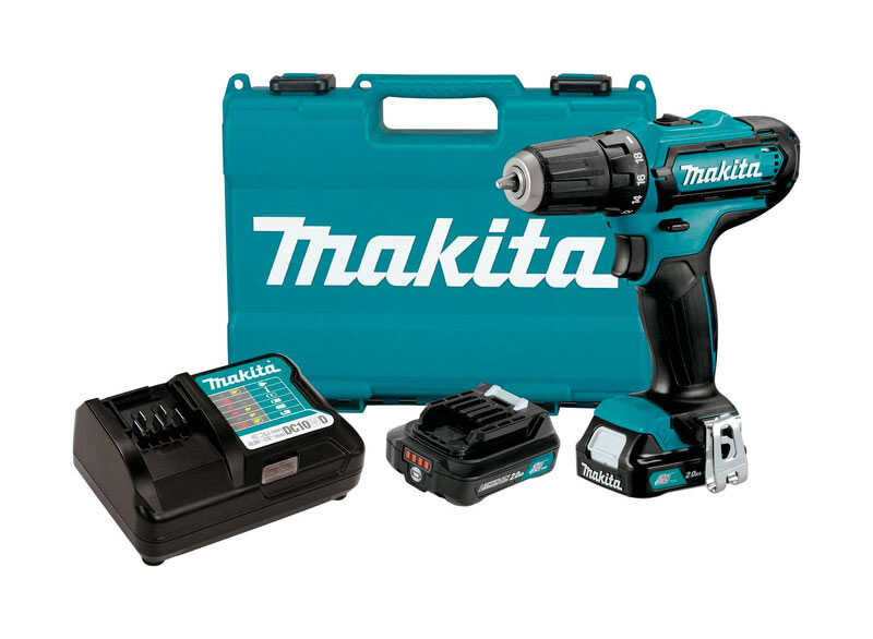 Makita  CXT  12 volts 3/8 in. Cordless Drill/Driver  Kit 1700 rpm 2