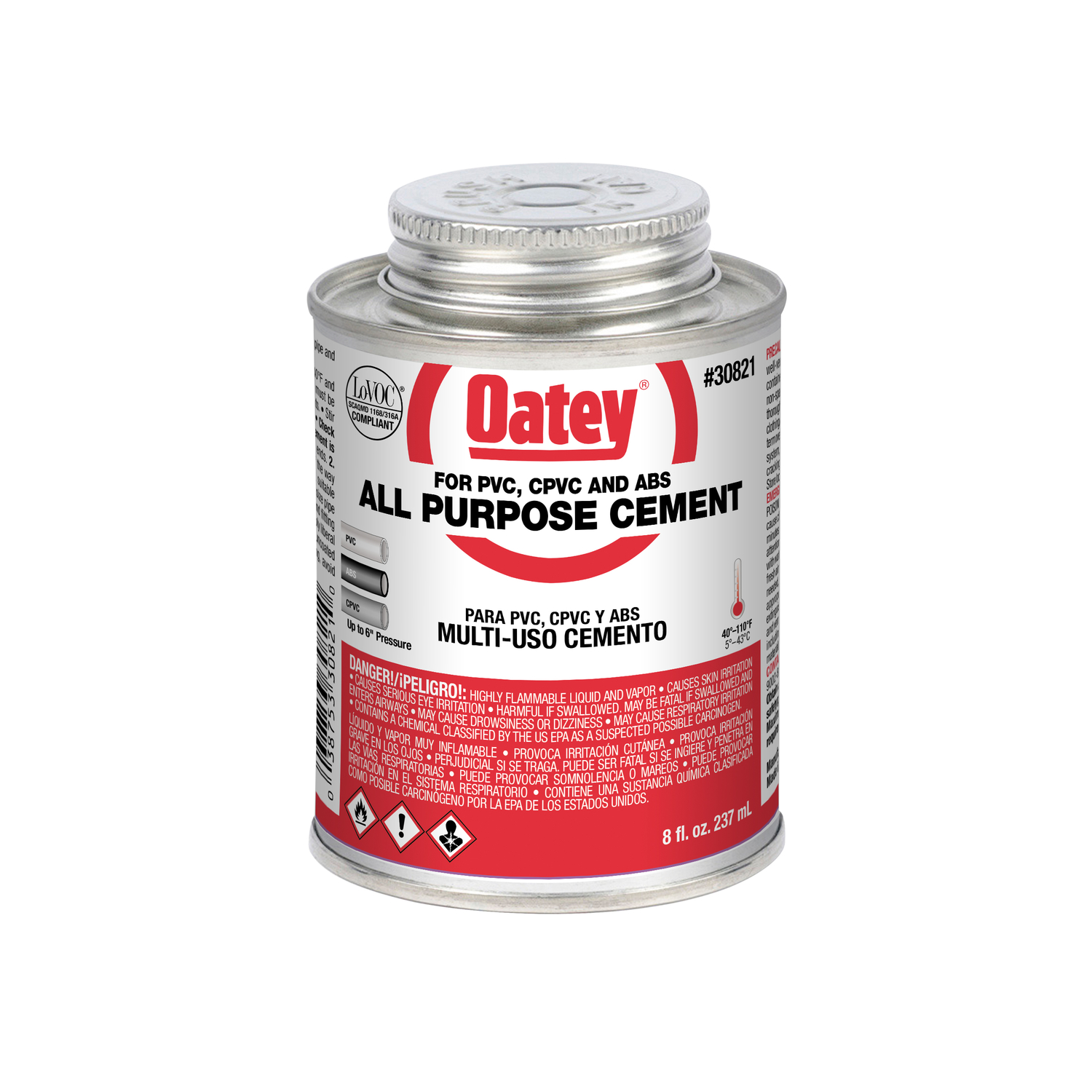 Oatey  All-Purpose Cement  For CPVC/PVC Clear  8 oz.