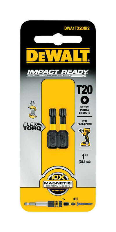 DeWalt  Impact Ready  Torx  1 in. L x T20 in.  Screwdriver Bit  2 pc. 1/4 in. Black Oxide