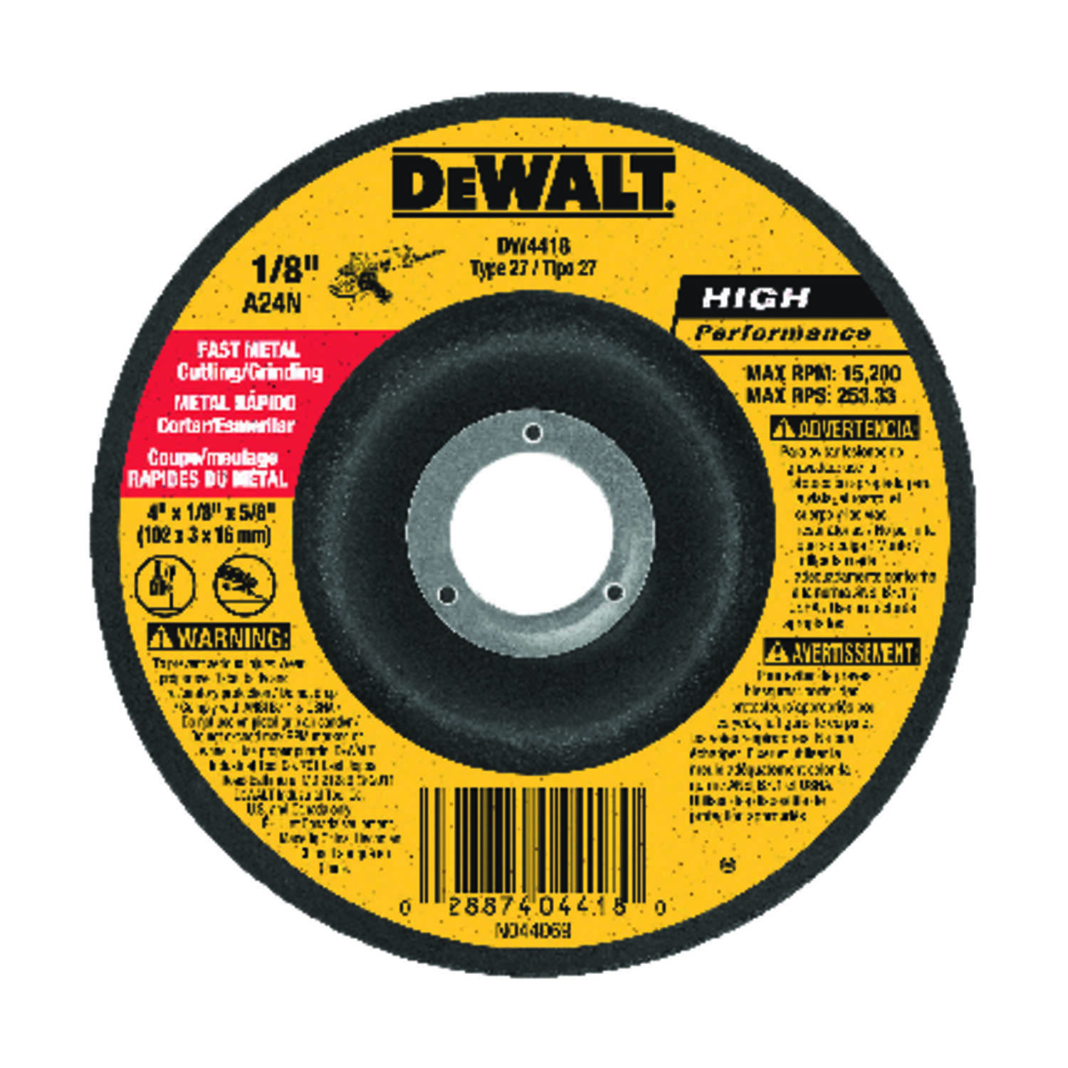 DeWalt  High Performance  4 in. Dia. x 5/8 in.   x 1/8 in. thick  Aluminum Oxide  Metal Grinding Whe