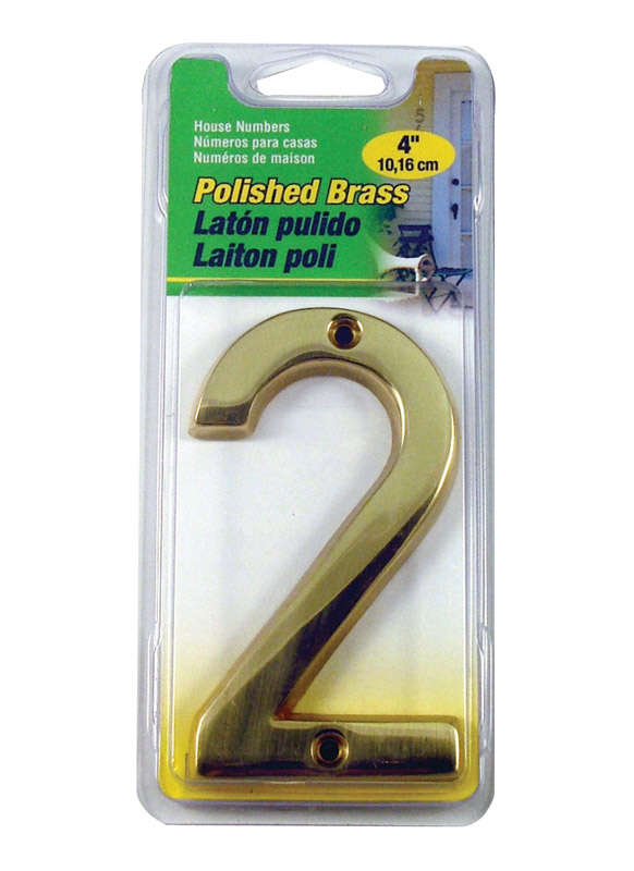 Hy-Ko  4 in. Gold  Brass  Nail-On  Number  2  1 pc.