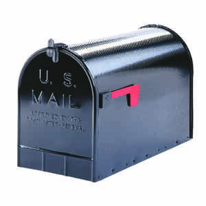 Gibraltar  Jumbo  Galvanized Steel  Post Mounted  Black  Mailbox  15 in. H x 11-1/2 in. W x 23-1/2 i