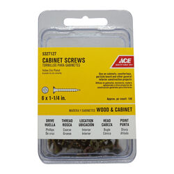 Ace  No. 6   x 1-1/4 in. L Phillips  Yellow Zinc-Plated  Cabinet Screws  100 pk
