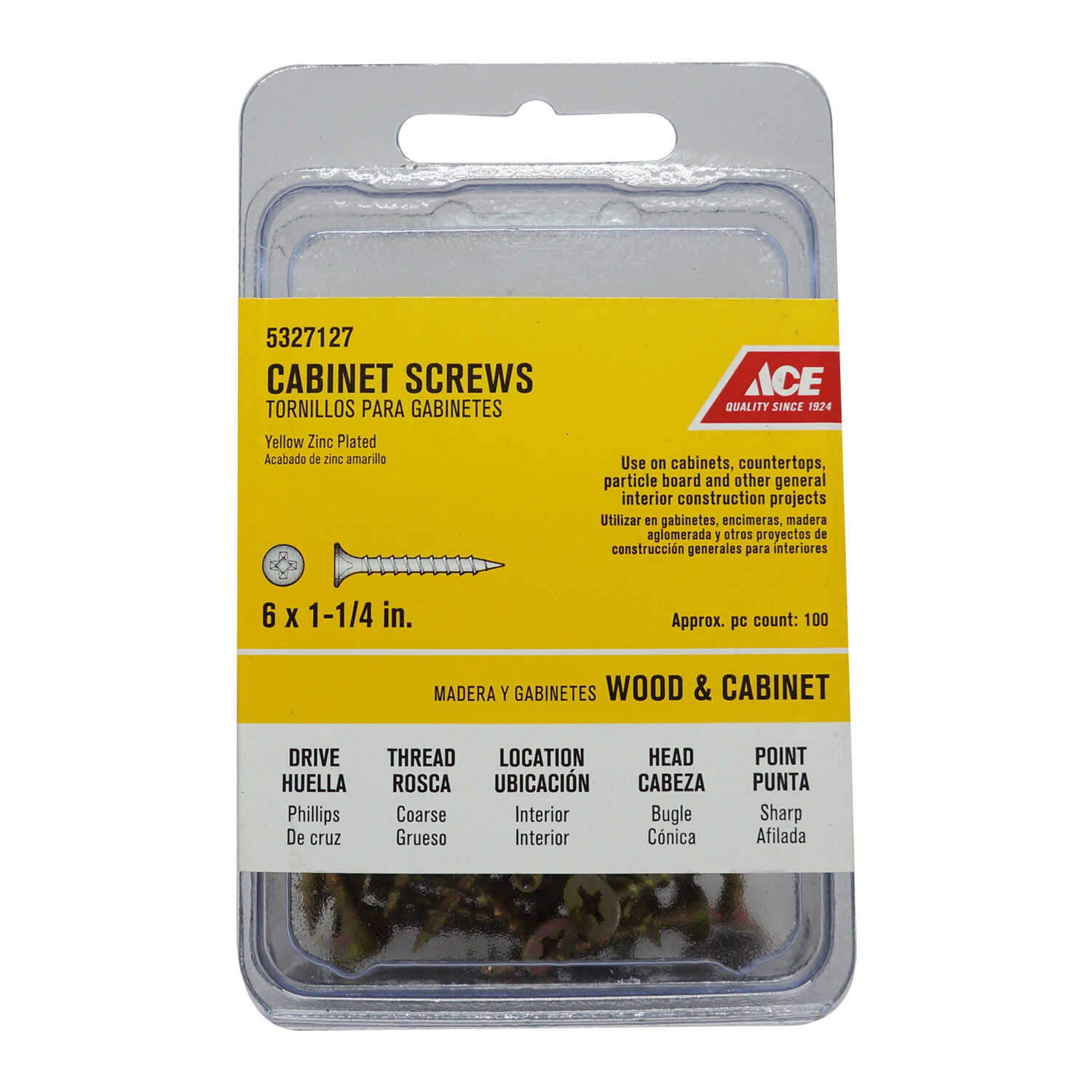 Ace  No. 6   x 1-1/4 in. L Phillips  Bugle  Steel  Cabinet Screws  100 pk Yellow Zinc-Plated