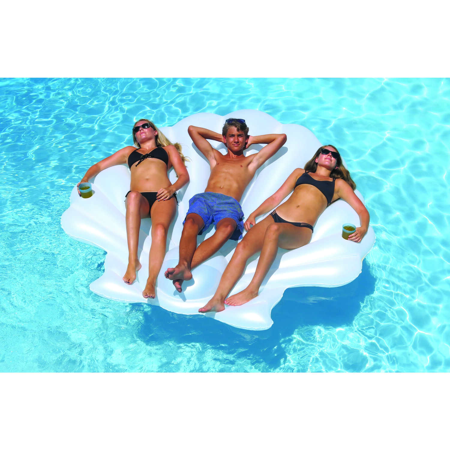Swimline  White  Vinyl  Inflatable Seashell  Pool Float