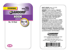 Jandorf  16-14 Ga. Insulated Wire  Terminal Hook  5 pk