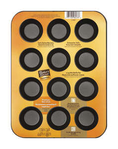 Baker's Secret Mini Muffin Pan Dishwasher Safe 10.2 in. x 7.8 in. x 2.7 in. 12 cup Non-Stick Metal G