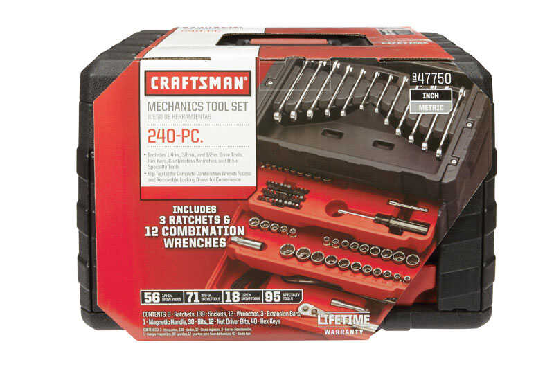 Craftsman  3/8 in.  x 1/4, 3/8 and 1/2 in. drive  Metric and SAE  6 Point Socket Wrench Set  240 pc.