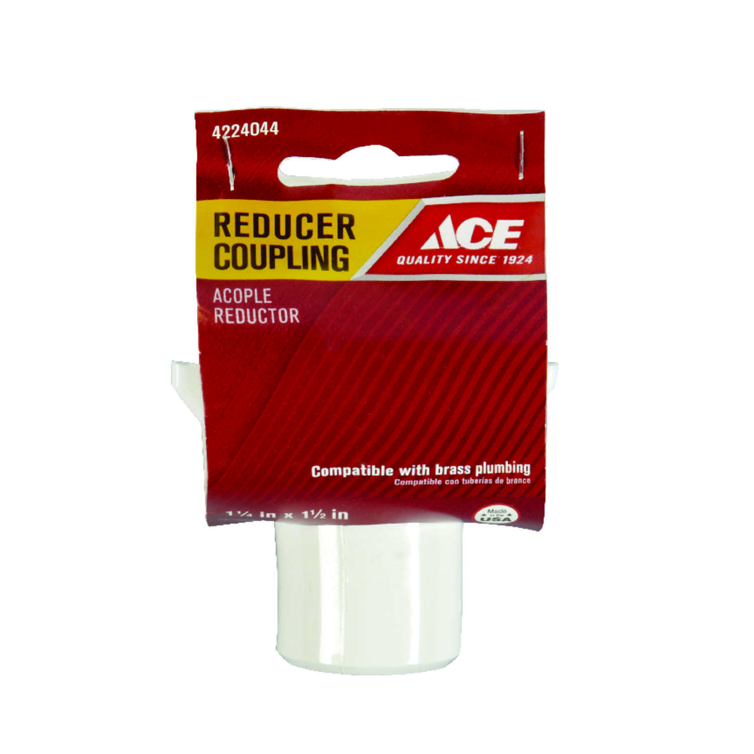 Ace  1-1/4 in. Slip   x 1-1/2 in. Dia. Slip  Plastic  Reducing Coupling