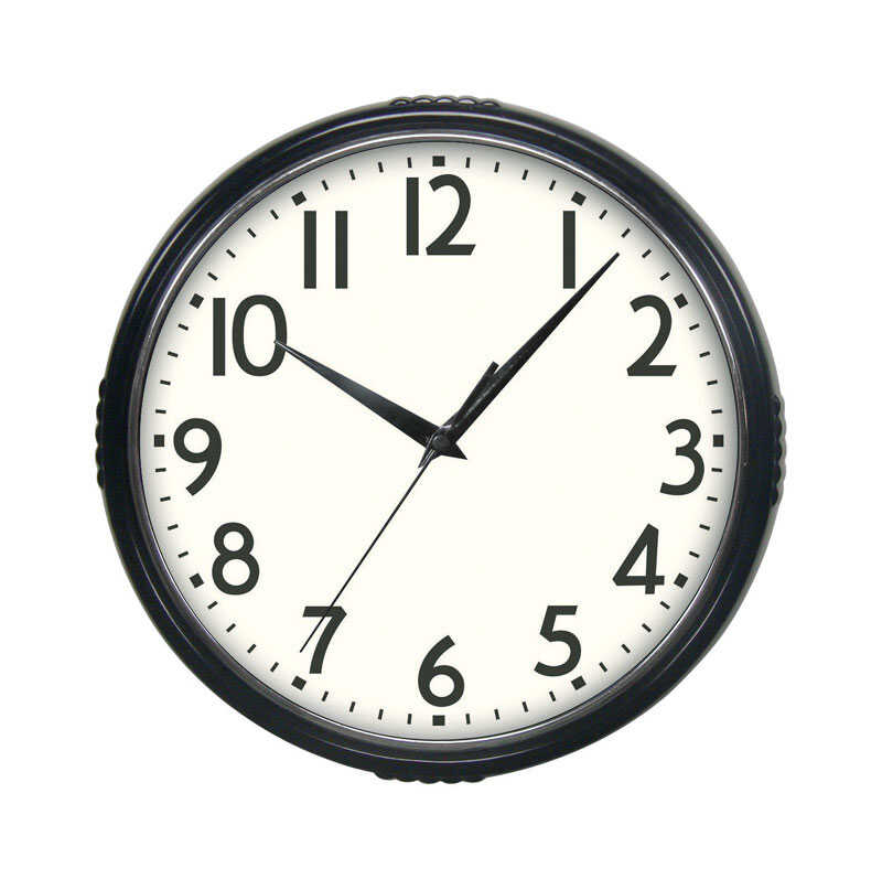 Westclox  9-3/4 in. L x 9 in. W Indoor  Modern  Wall Clock  Glass/Plastic  Analog  Black