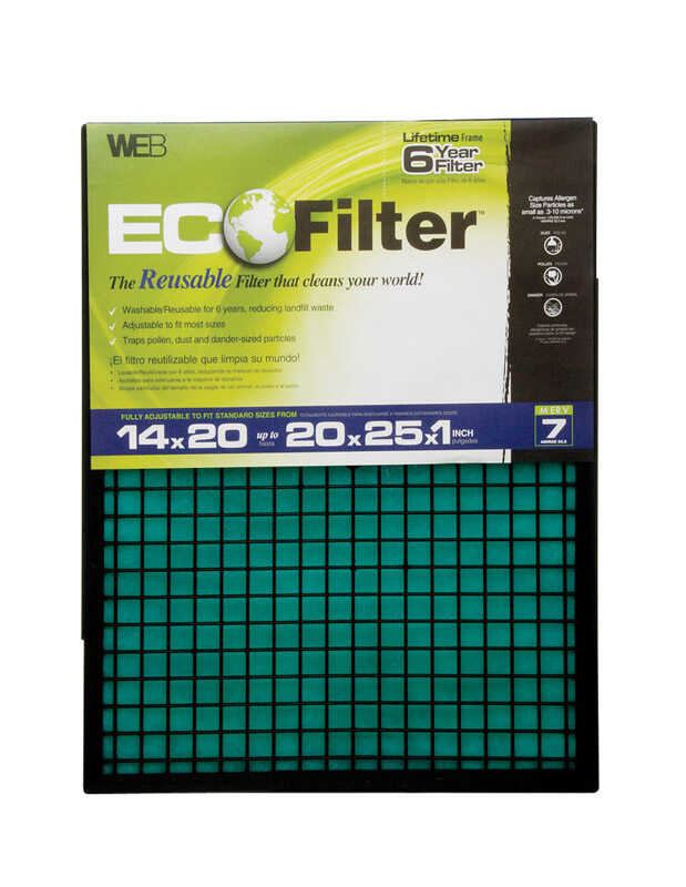 Web  Eco Filter  14 in. W x 25 in. H x 1 in. D Polyester  Air Filter