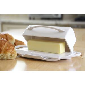 Butterie  5.5 in. W x 9 in. L White  Plastic  Butter Dish