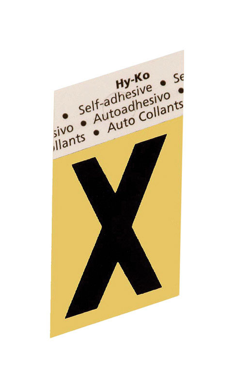 Hy-Ko  1-1/2 in. Aluminum  X  Black  Self-Adhesive  Letter