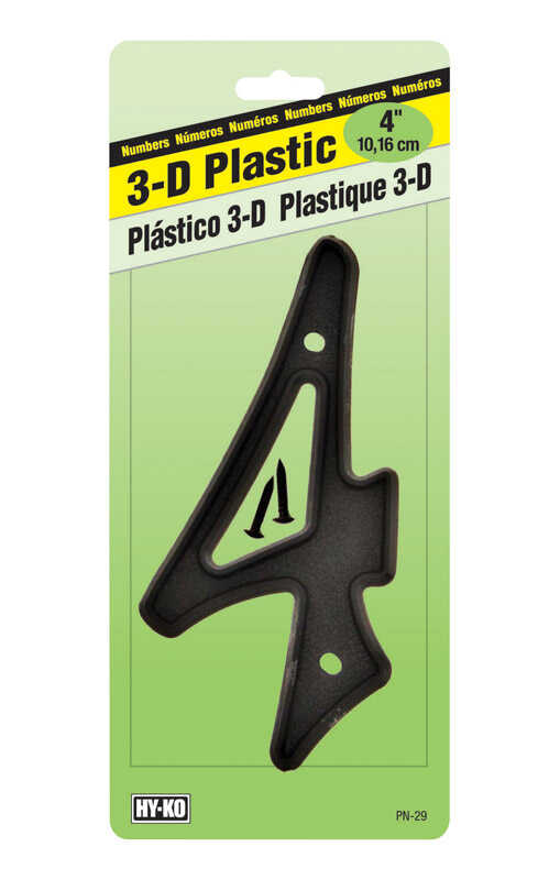 Hy-Ko  4 in. Plastic  Black  4  Nail-On  Number