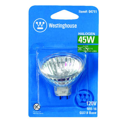 Westinghouse  45 watts MR16  Floodlight  Halogen Bulb  270 lumens White  1 pk