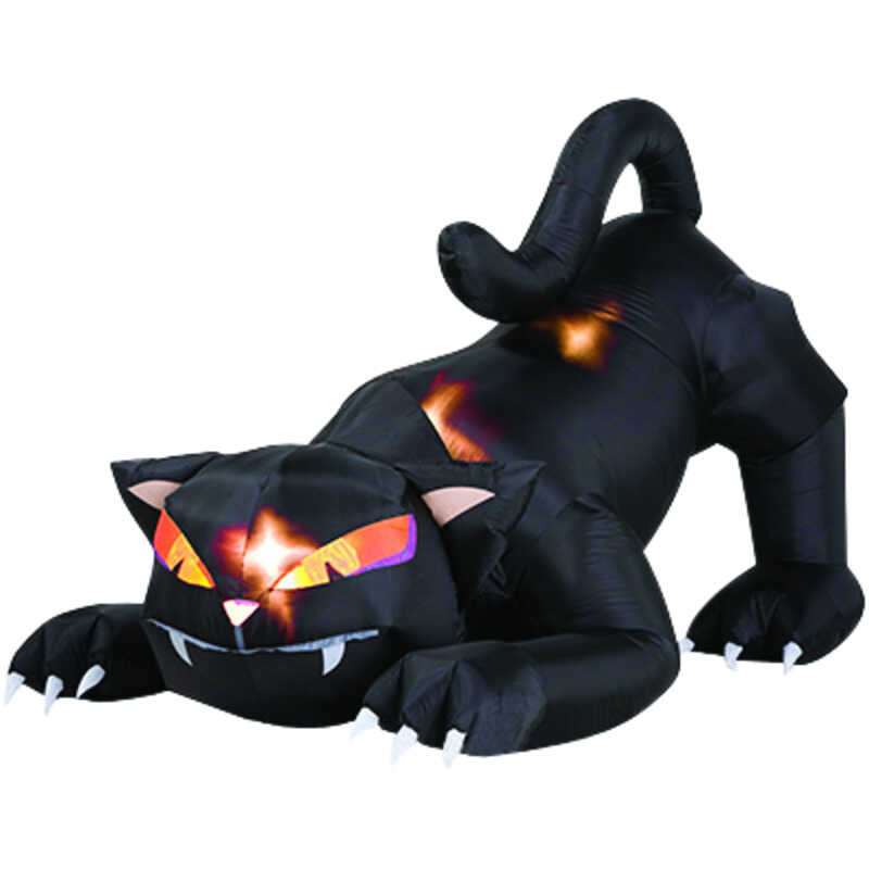 Gemmy  Inflatable Cat  Lighted Halloween Decoration  6 ft. L